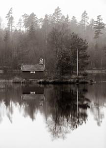 Sött hus i svartvitt